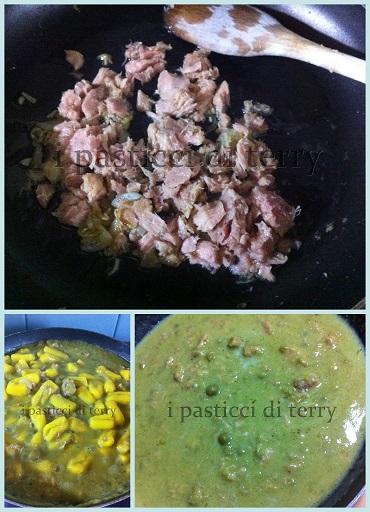Cavatelli gialli con crema di piselli e tonno2