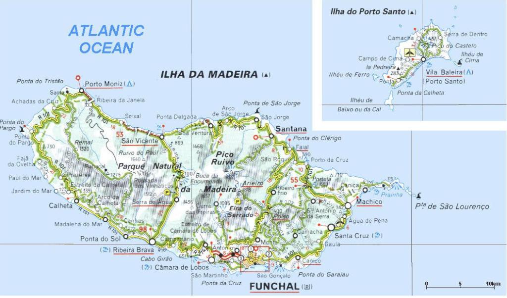 Cartina Isola di Madeira e Porto Santo