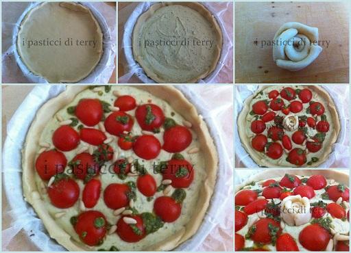 Torta salata pomodorini pesto e pinoli