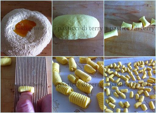 Gnocchi allo zafferano con salsiccia e funghi