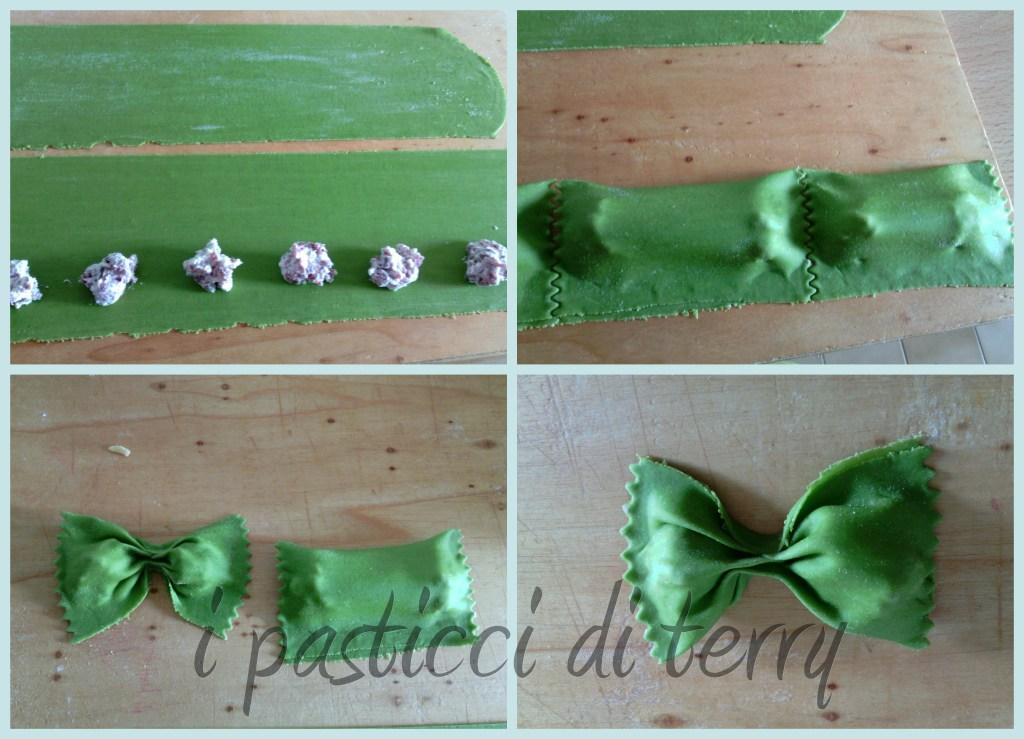 Ravioli a farfalla con bresaola e ricotta collage