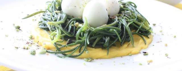 Agretti con salsa allo zafferano ovette di quaglia e pistacchi (10)