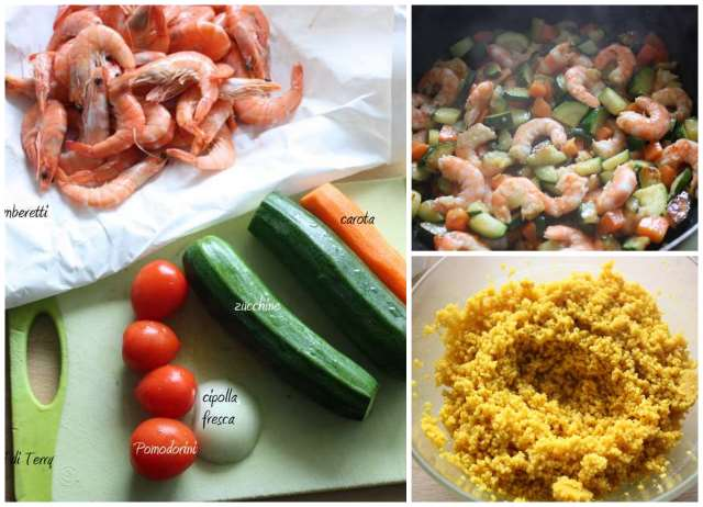 Cous cous alla curcuma con gamberetti e verdure