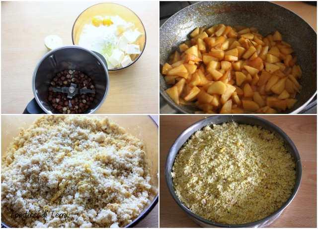 Torta Sbriciolata di semola e nocciole con mele caramellate